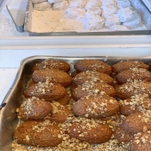 These Greek Honey Cookies or as we call them in Greece Melomakarona, go way back in time. Available daily in our Marketa!