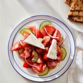 This is your go-to traditional Greek Salad called Horiatiki. One of the top picks in our restaurant!  #manhasset #greatneck #roslyn #portwashington #munseypark #yummy #food #lakesuccess #gardencity #dinner #longislandfood #longislandfoodie #summereats