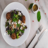 Craving something light & fresh before the turkey binge??   Try our delicious beet salad with mixed greens, goat cheese & falafel! Topped with toasted almonds