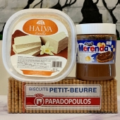 Greek treats available in our Marketa! Our personal favorite is the Merenda, which is a chocolate and hazelnut praline spread is the Greek classic chocolate spread equivalent to Nutella. Made with hazelnuts cocoa and milk this spread has a chocolate taste that Greeks have loved is ideal for croissants crepes and waffles and also to spread it on bread to serve it for breakfast