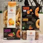 """Greek treats available in our Marketa! Our favorite are the Tsanos cookies. They are traditional Greek cookies """"Koulouria"""" with Honey, Sesame Seeds, and 100% Extra Virgin Olive Oil. Delicious and great for fasting since they contain no dairy or meat byproducts."""